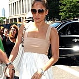 Jennifer Lopez went out to lunch on her birthday in NYC.