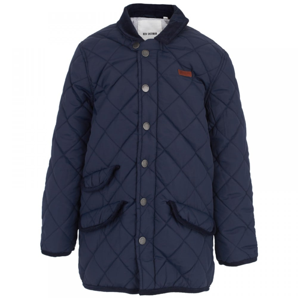 He'll keep warm whenever he throws on this quilted navy jacket ($42, originally $61) with standout details like a corduroy collar, three pockets, and elbow patches.