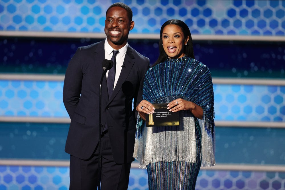 "Sterling K. Brown and Susan Kelechi Watson are back together again, and it feels so good. On Sunday night, the This Is Us costars had a mini reunion as they presented best TV series, musical or comedy. While the duo have been making appearances on our TV screens every Tuesday night, there's just something about seeing them together in real life that's making our hearts swell. After all, the This Is Us cast have become known for their supercute award-show appearances over the years.  While on stage, Sterling and Susan briefly made reference to the backlash the award show is facing for its lack of Black members in the Hollywood Foreign Press Association. ""It's great to be Black — back — at the Golden Globes,"" Sterling joked. Like many other stars, the two also addressed the controversy with posts on Instagram. ""With the power you have HFPA, you simultaneously hold a responsibility to ensure your constituency is fully reflective of the world in which we live,"" Sterling wrote. ""When you know better, you must do better. And having a multitude of Black presenters does not absolve you of your lack of diversity. This is your moment to do the right thing. It is my hope that you will."" See more moments from their night ahead.      Related:                                                                                                           The Cast of This Is Us Might Actually Be Closer Than the Pearson Family"