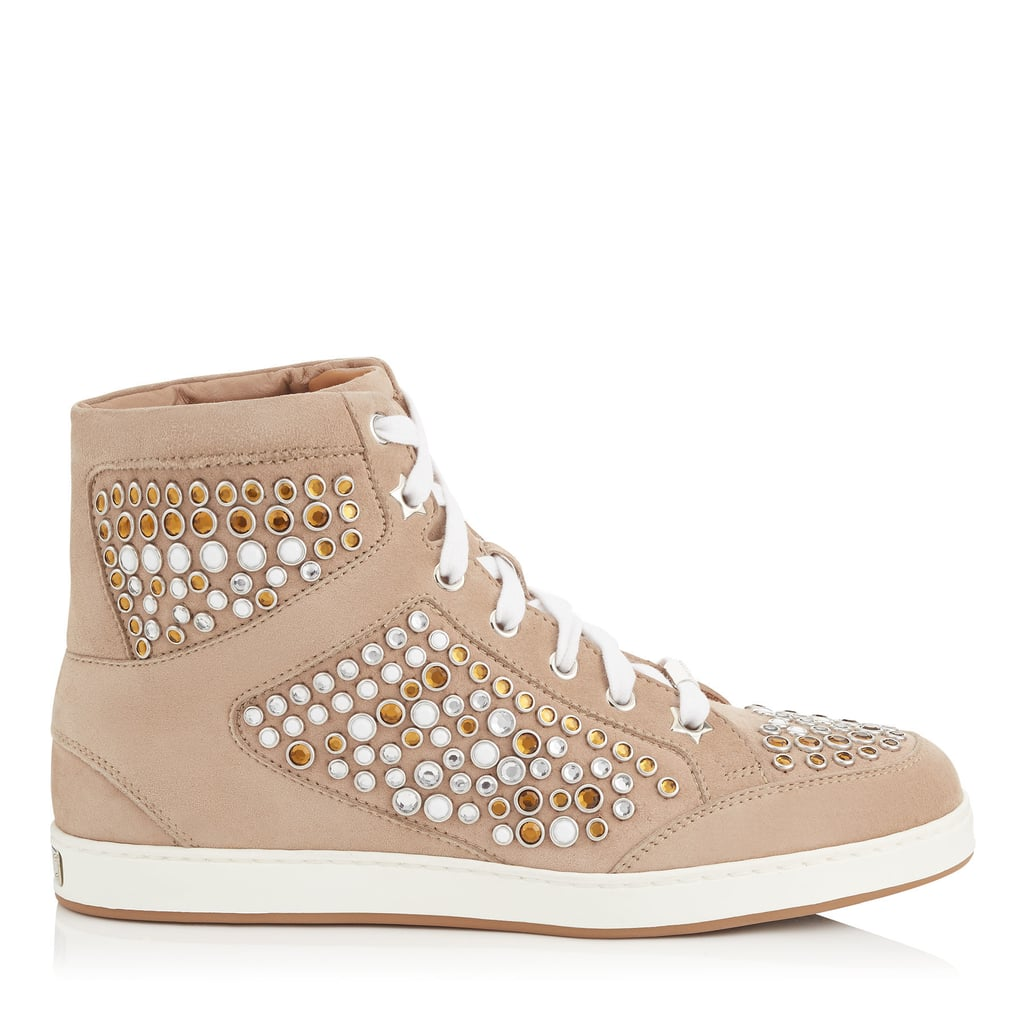 Jimmy Choo TOKYO Nude Suede High Top Trainers with Metal Studs ($795)