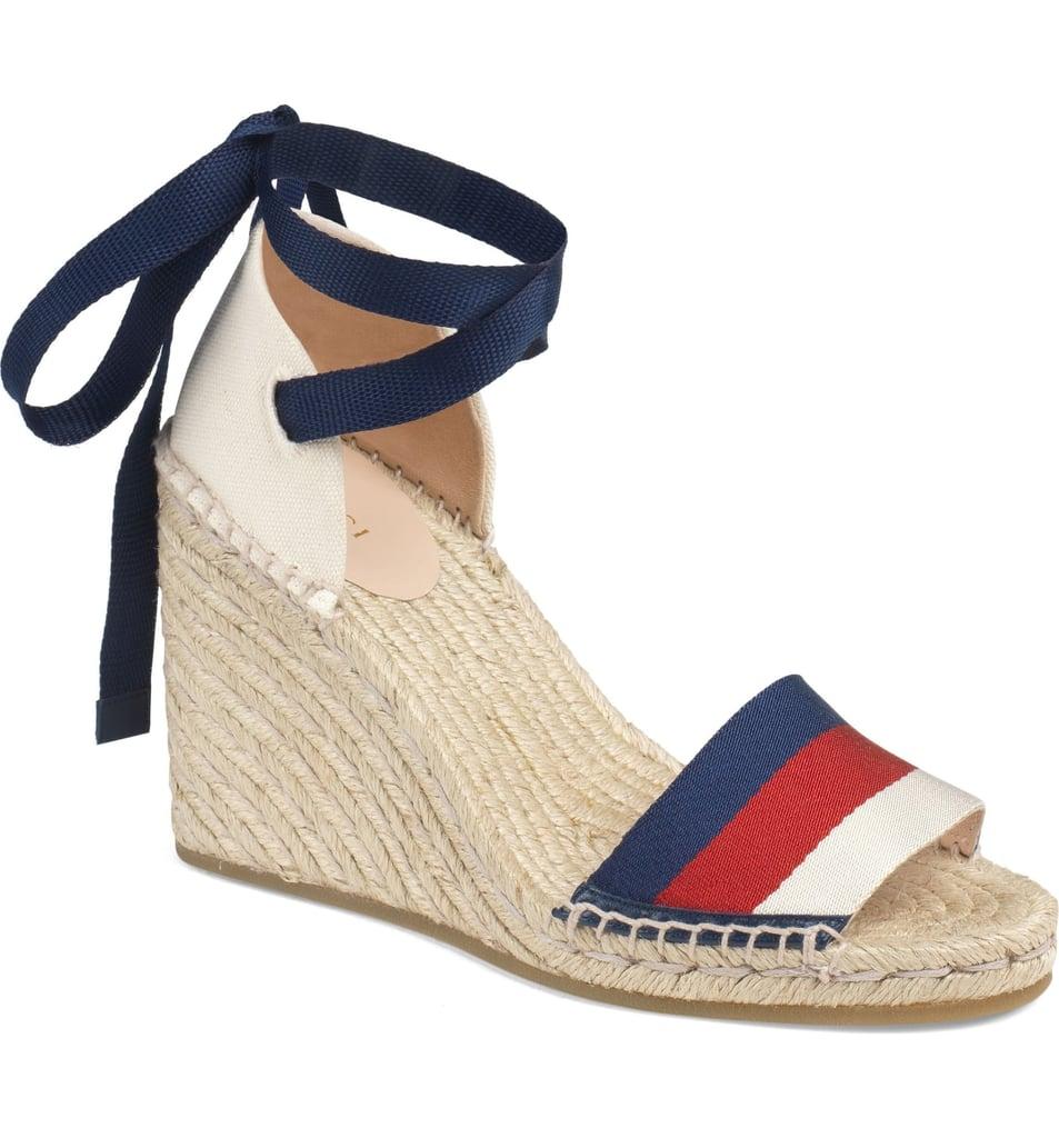 00a9da6295dd Gucci Lilibeth Sylvie Web Espadrille Wedge Sandals