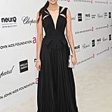 Nina Dobrev looked ultrachic in a Fall '12 J. Mendel gown, fresh off the runway. The slick cutouts provide extra edge in an otherwise elegant floor-length ensemble.