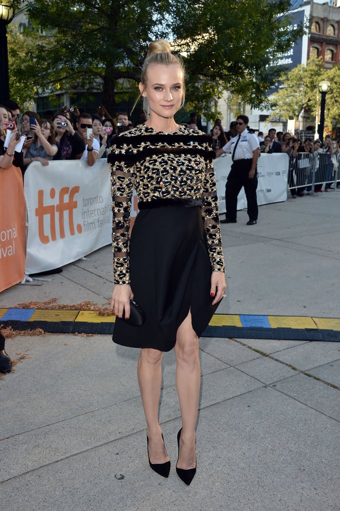 For the 2012 Toronto International Film Festival premiere of Inescapable, Kruger wowed in an ornate Valentino Couture selection. A sequined and fur-trimmed bodice and ruched skirt, complete with a sexy slit, had tongues wagging.