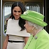 يونيو: شرعت ميغان بأوّل ظهور لها بمفردها مع الملكة إليزابيث الثانية بعد وصولهما بالقطار الملكيّ إلى مقاطعة تشيشير بإنجلترا.