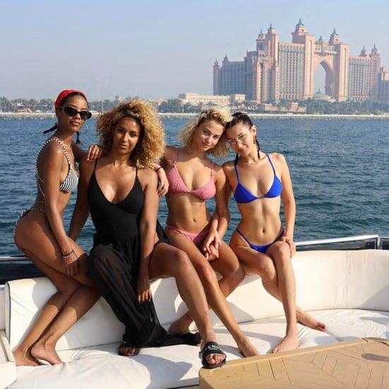 Bella Hadid Blue Bikini in Dubai