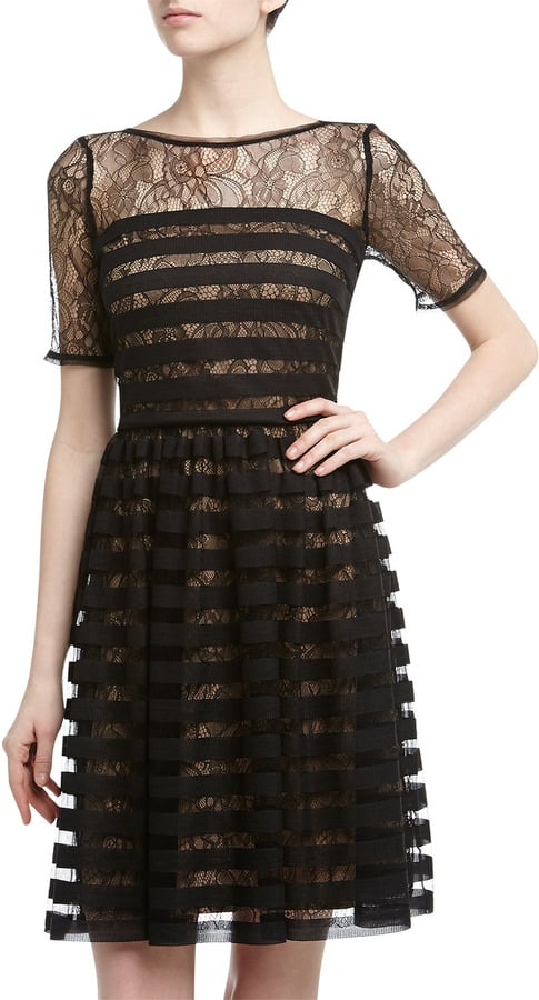 In a sea of chic black cocktail dresses, pick one that stands out. This short-sleeve Muse style ($125) does the trick, thanks to tight stripes and lace at the neck and arms.