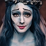 This Corpse Bride looked even more cartoonish thanks to the placement of false lash strips on her lower lids.