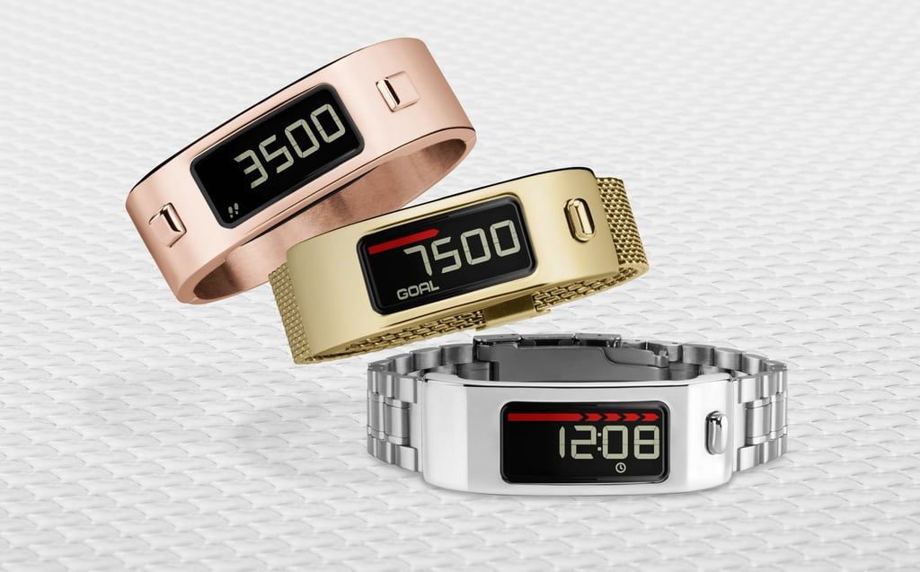 If you've ever hated how your fitness tracker looked with your favorite outfit, your sartorial troubles may be over. The newest crops of fitness trackers are made to be seen, whether you're wearing your most low-key workout outfit or tracking your steps while mingling at a cocktail party. First came the Tory Burch offerings from Fitbit, which turned your tracker into wear-with-anything jewelry. And now there's the Garmin vivofit2 ($130 without heart-rate monitor), which updates last year's vivofit model with the addition of audible alerts, an activity timer, and a backlight. But the big news for anyone who can't seem to match tracker with their sleekest Saturday night outfit? Band color options for the new vivofit2 include a rainbow of colors, Jonathan Adler-designed patterns, as well as metallic options in gold, rose gold, and silver, with details like leather straps and watch-like links to boot. If you sometimes want to ditch the sporty look but still want to track your stats, you'll definitely want to keep your eye out for these fashionable vivofit2 options, some available now and the rest available later this year. Just bought a first-generation vivofit? You're in luck — certain Jonathan Adler and metallic designs will soon be available for this older model as well.  RELATED: Garmin vivoactive is a smartwatch with a serious fitness twist