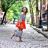 A Striped Shirt, Bold Colored Skirt, and Sandals