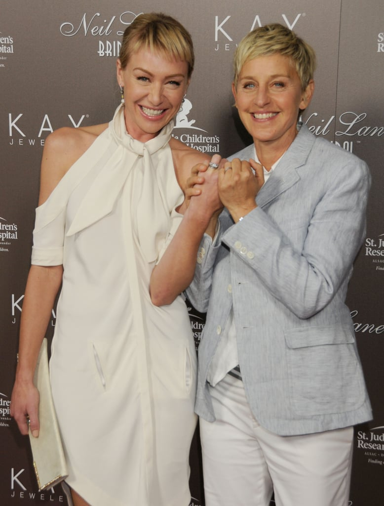 Ellen and Portia showed off their wedding bands at a July 2010 event in LA.