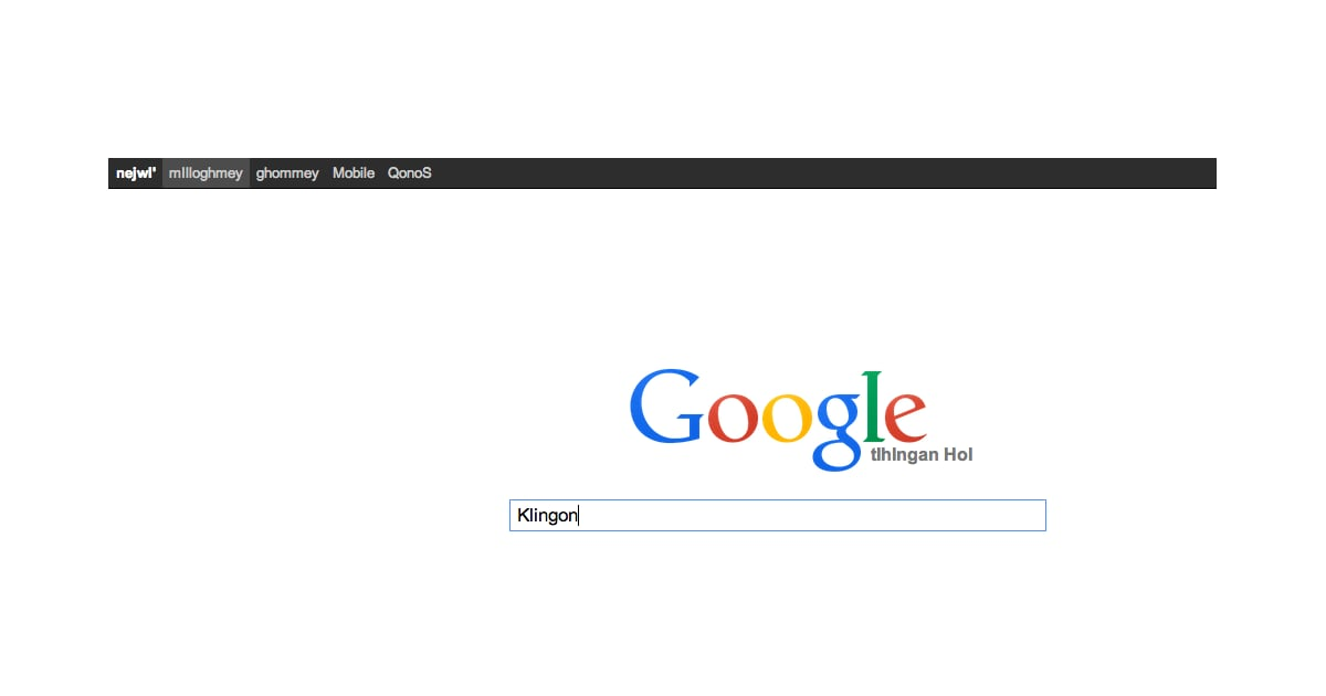 Google xx klingon
