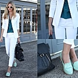 This street styler contrasted her patent loafers with a sharp white blazer, cropped pants, and a dark teal blouse. We'd love to try out this look for a casual Friday work day.  Photo courtesy of Tuula