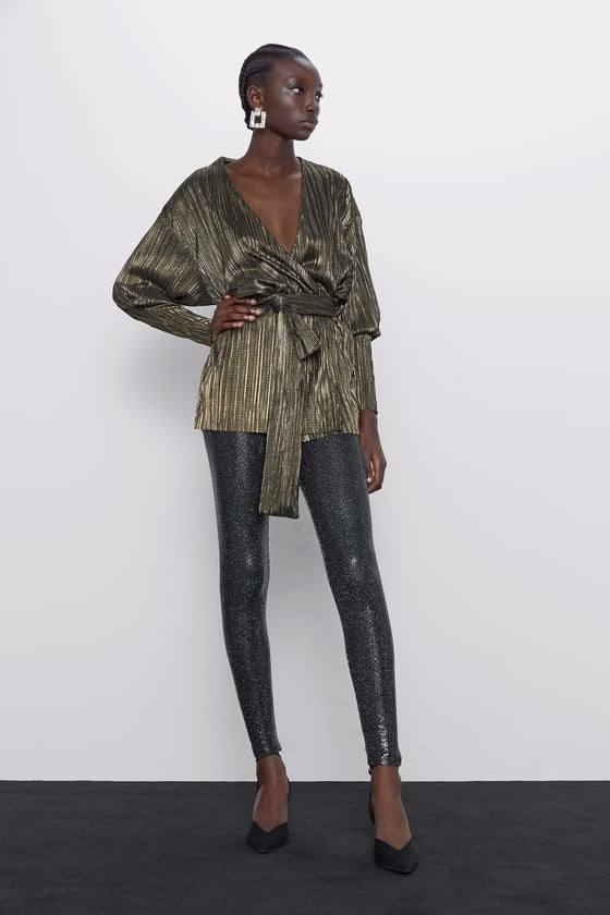 Zara Metallic Effect Blazer With Bow