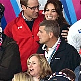 Will wrapped his arm around a smiley Kate during the September 2015 Rugby World Cup.