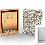 Bordeaux iPad case with papaya and platinum inner wraps and outer Bordeaux pattern shell.