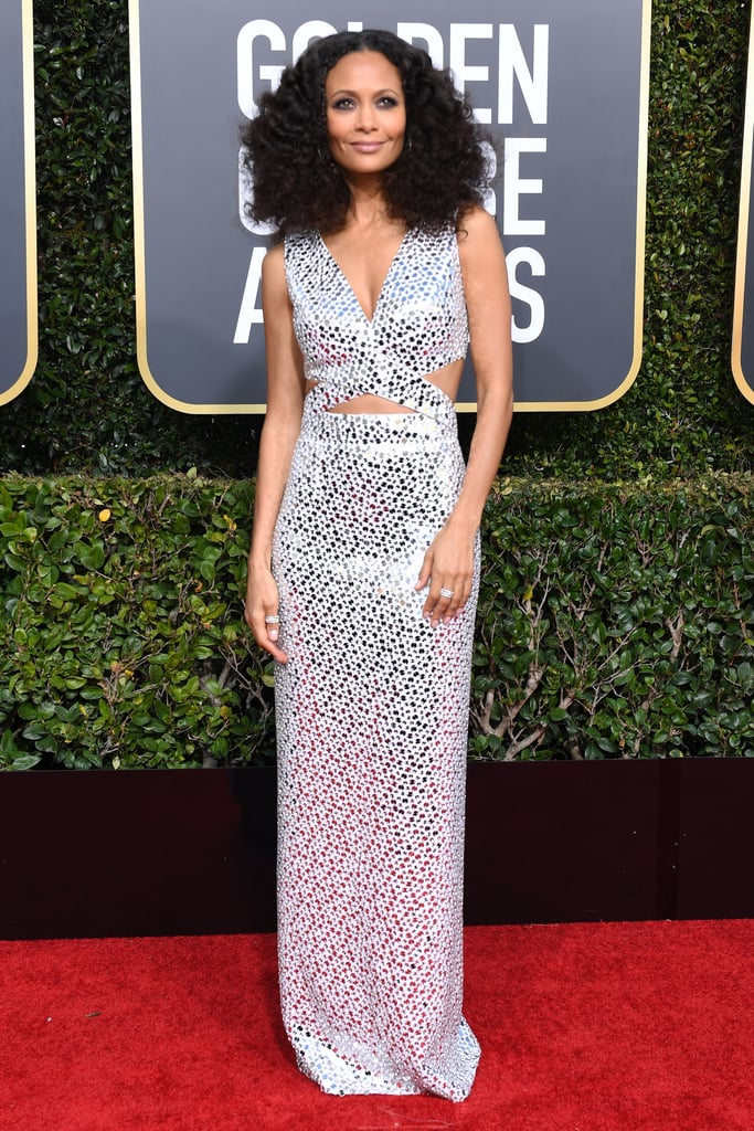 Thandie Newton wearing Michael Kors Collection gown that featured cutouts.
