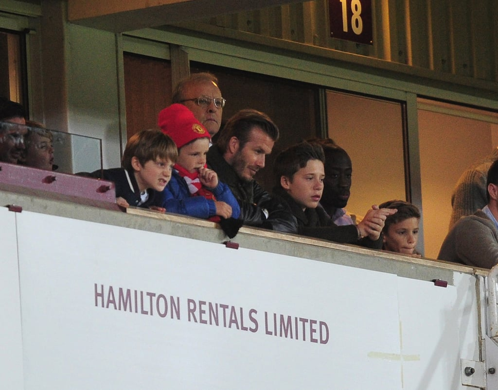 David Beckham and his boys watched the FA Cup Third Round.