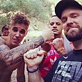 Justin Bieber pretended to throw a punch. Source: Instagram user justinbieber