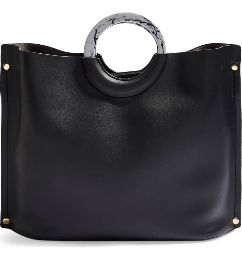 Topshop Milan Marble Handle Faux Leather Tote