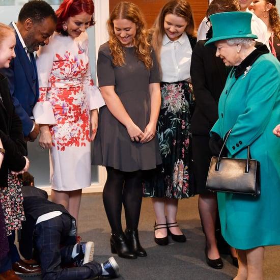 Little Boy Crawling Away From Queen Elizabeth II Video