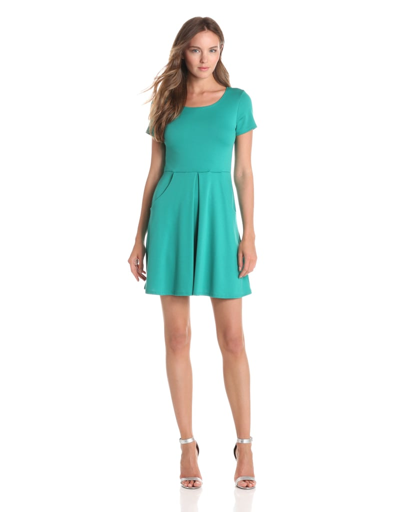 A basic short-sleeved dress is always a safe, sophisticated option. Give yours a fresh spin for Summer by picking a zippy color like the teal hue of this Star Vixen find ($48).