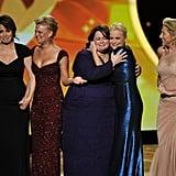 2011 —Tina Fey, Martha Plimpton, Melissa McCarthy, Amy Poehler, and Edie Falco