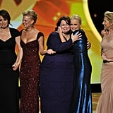 Tina Fey, Martha Plimpton, Melissa McCarthy, Amy Poehler, and Edie Falco at the 2011 Emmy Awards