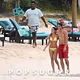 In November 2008, tennis champ Rafael Nadal took a beach stroll with his girlfriend, Maria Francisca Perello, in Mauritius.