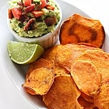 Baked Sweet Potato Crisps With Bacon Guacamole