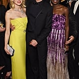 Adrien Brody was in the middle of a gorgeous sandwich with Naomi Watts and Lupita Nyong'o.