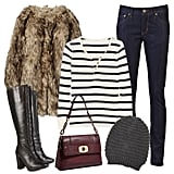Pair a textured dark and light brown faux fur coat with dark-wash Levi's skinny jeans, a preppy striped henley, retro lace-up boots, a burgundy boxy Milly purse, and a slouchy beanie. For extra warmth, add a cable-knit cardigan to the layered mix.  MICHAEL Michael Kors Faux Fur Coat ($225) J.Crew Striped Thermal Henley ($47) By Malene Birger Cable Knit Cardigan ($198) Beatrix Lace Front High Leg Boots ($245) Levi's Made in US Skinny Jean ($178) Milly Allie '70s Shoulder Flap Bag ($395) Deena & Ozzy Slouchy Beanie ($24)