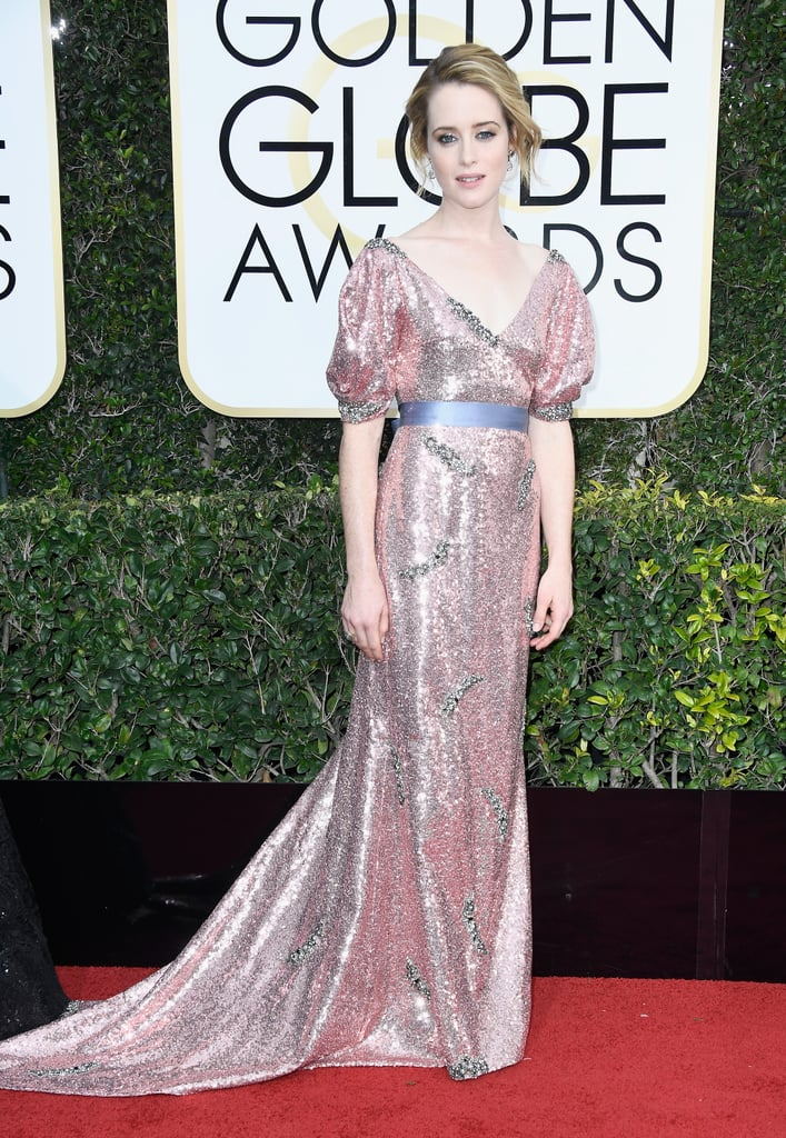 Claire Foy in an Erdem gown with Fred Leighton jewels and Nicholas Kirkwood shoes in 2017.