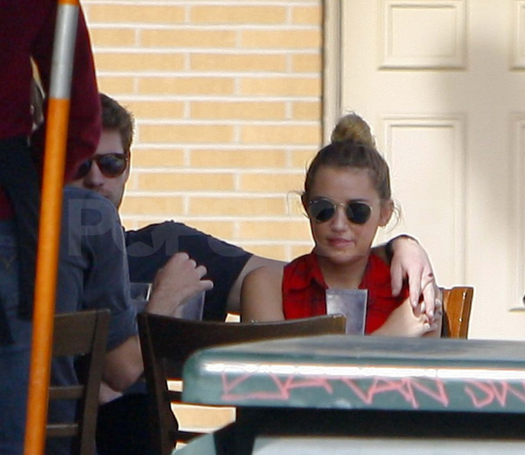 Miley Cyrus and Liam Hemsworth at lunch in LA.