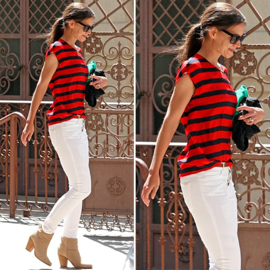 Katie Holmes Red and Navy Stripe Top
