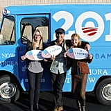 Jon Hamm, Jennifer Westfeldt, and Stephanie March posed for a cute photo in Colorado. Source: Facebook User Obama for America