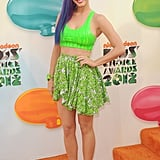 Katy turned it out for the 2012 Kids' Choice Awards, owning the neon and crop-top trend — what an overachiever! — in an electrifying bralet, printed Gerlan Jeans miniskirt, and multicolor ponytail.