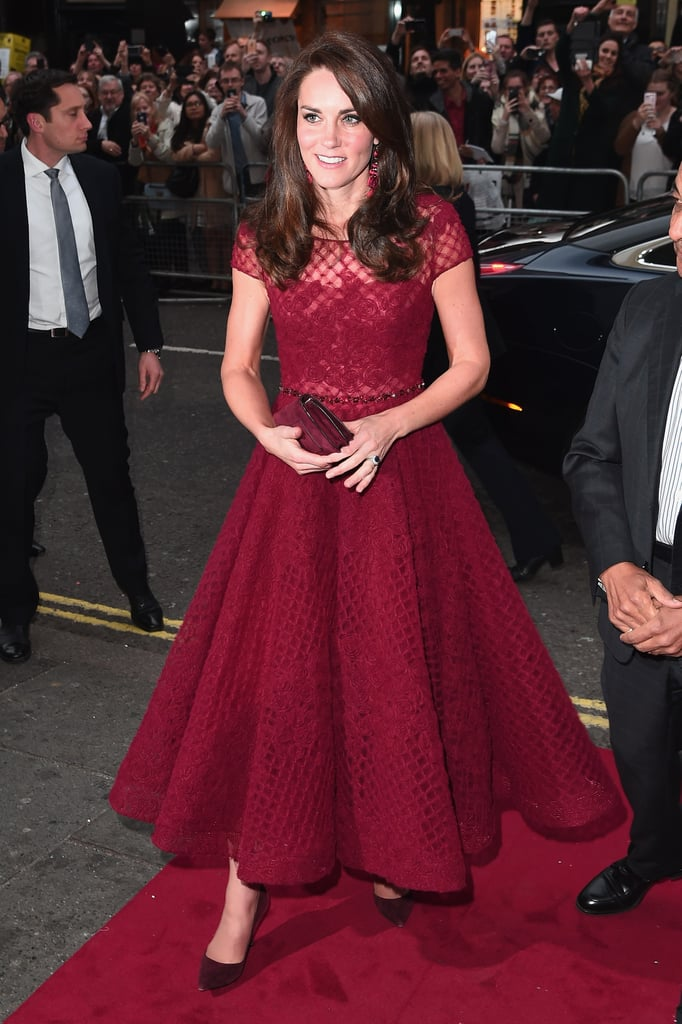 Duchess Kate Wearing Red Marchesa Notte Dress April 2017