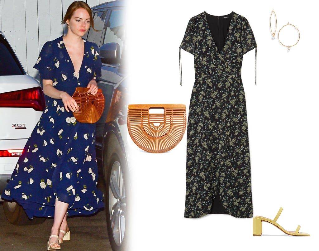 Emma Stone Floral Dress and Cult Gaia Bag 2019