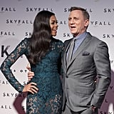 Daniel Craig and Naomie Harris had a laugh on the carpet.