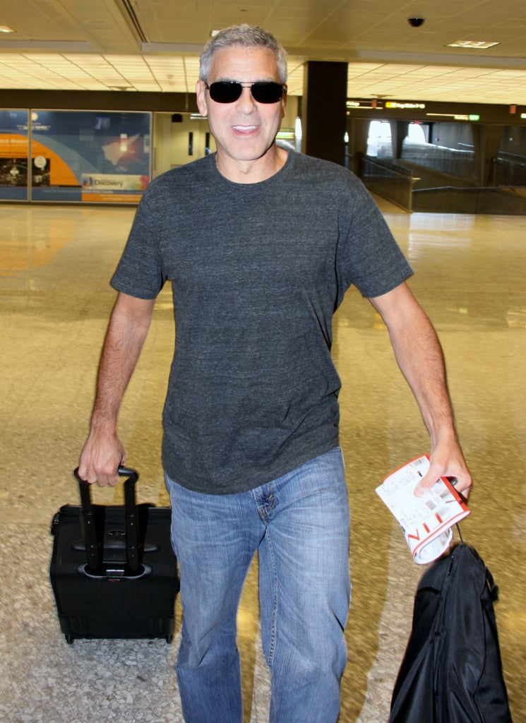 George Clooney arrived at Dulles Airport to catch a flight out of Washington DC yesterday. He was in the nation's capital to attend the White House Correspondents' Dinner on Saturday night. The evening brought out plenty of stars including Kate Hudson, Charlize Theron, Rachel Zoe, and more. George didn't have girlfriend Stacy Keibler by his side, though there were plenty of cute couples at the White House dinner. George and his famous pals kept the fun coming after dessert as they headed to the French Ambassador's residence for a party thrown by Bloomberg and Vanity Fair. George mingled with Barbara Walters, Kerry Washington, and Kate and her man Matthew Bellamy. George's political support will continue next week when he hosts a fundraiser for President Barack Obama at his home.