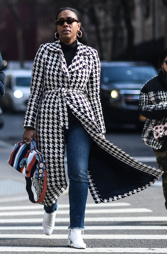Try Wearing Houndstooth With an Eye-Catching Striped Bag