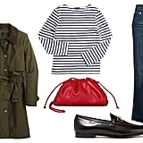 Gucci Jordaan Horsebit-Detailed Leather Loafers ($730) Saint James Minquiers Moderne Breton Stripe Shirt ($79) J.Crew Field Trench Coat ($90) Proenza Schouler White Label High Waisted Cropped Jeans ($290) Bottega Veneta The Mini Pouch ($1,390)
