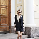 A flirty take on the suit is always a safe option, smart but not too official, not to mention summer appropriate. Keep the legs bare, good heels are key and swap the white shirt for a lighter top. The blazer makes the outfit but can easily come off if the night continues after dark.
