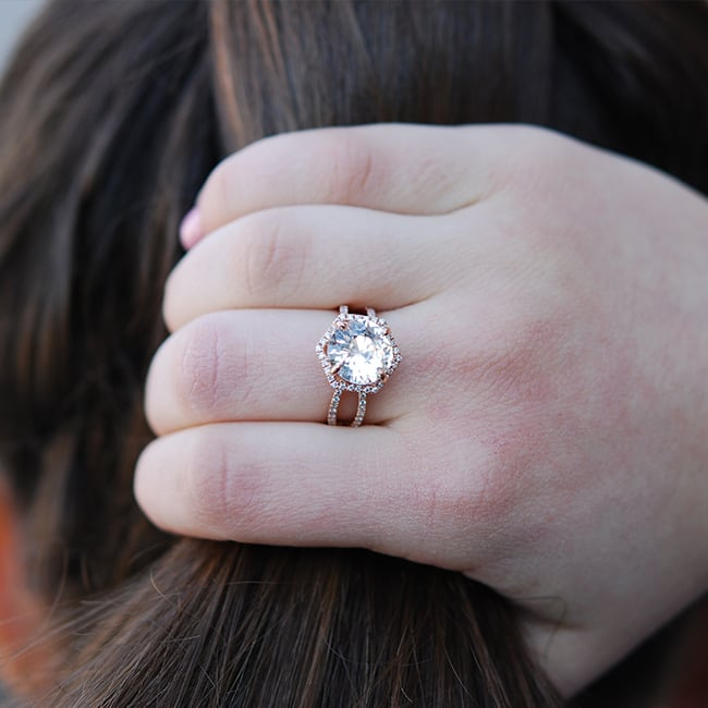Rose Gold Peach Hexagon Ring by Sapphire Rings