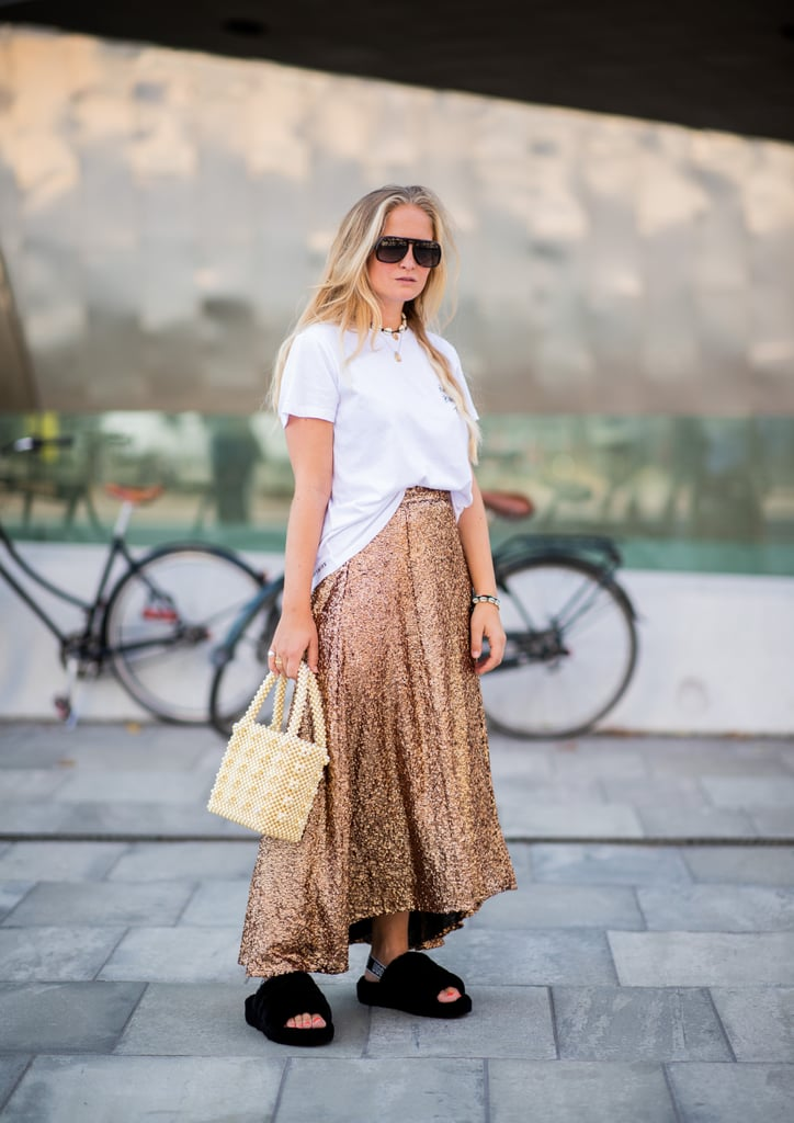 Style Your Sparkly Skirt With a Simple White Tee and Slides