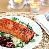 "Beet ""Pasta"" With Lemon-Crème Sauce and Broiled Salmon"