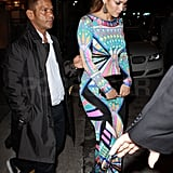 Jennifer Lopez wore a bright and colorful gown to dinner.