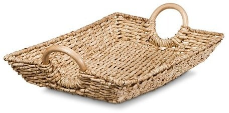 Threshold Decorative Woven Basket Tray With Round Wood Handles ($25)