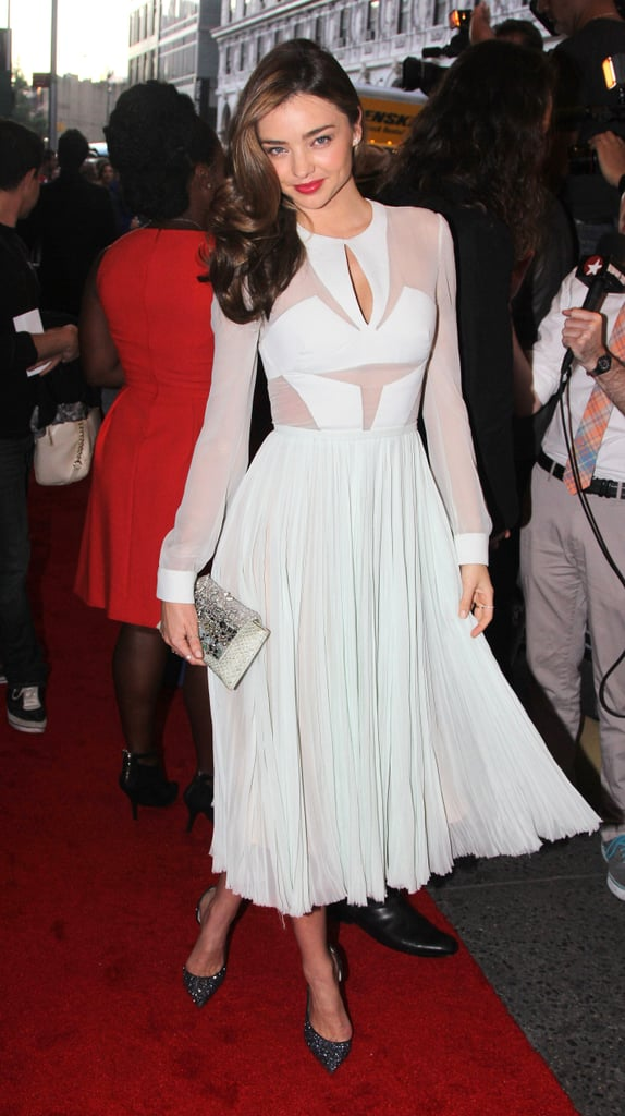 Miranda Kerr wore white to Orlando Bloom's premiere.