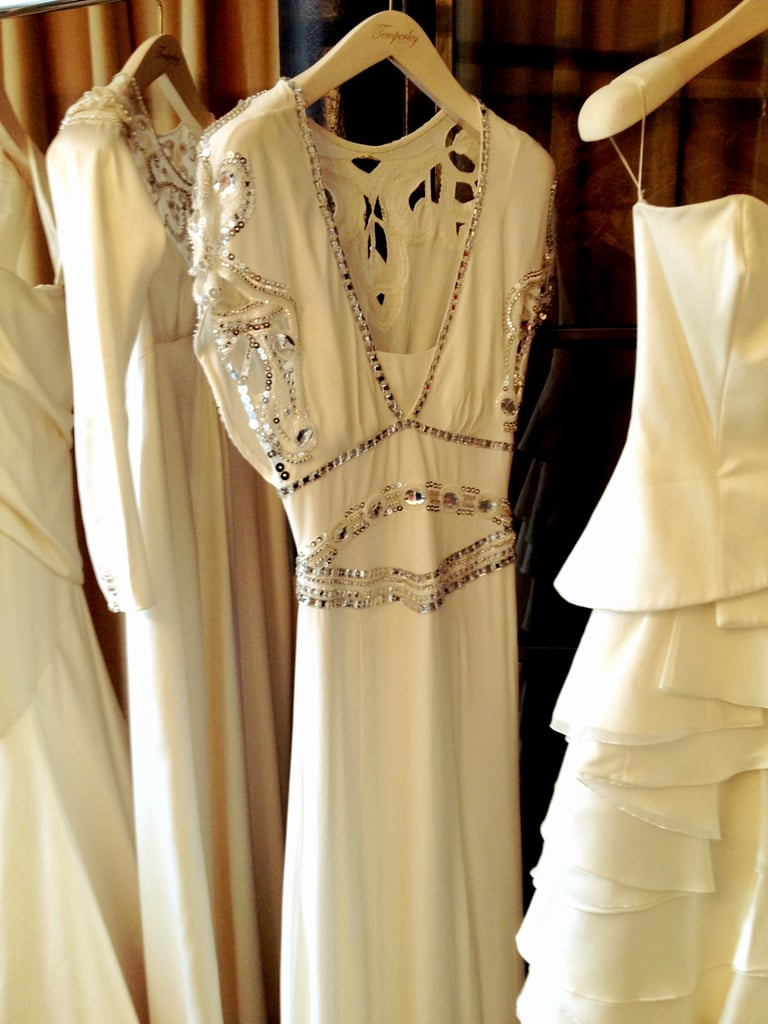 Beading detail on a beautiful silk-crepe wedding gown.